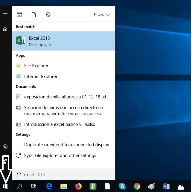 2. Abrir Excel, ir a la banderita de Windows, escribir Excel y hacer clic en la herramienta.